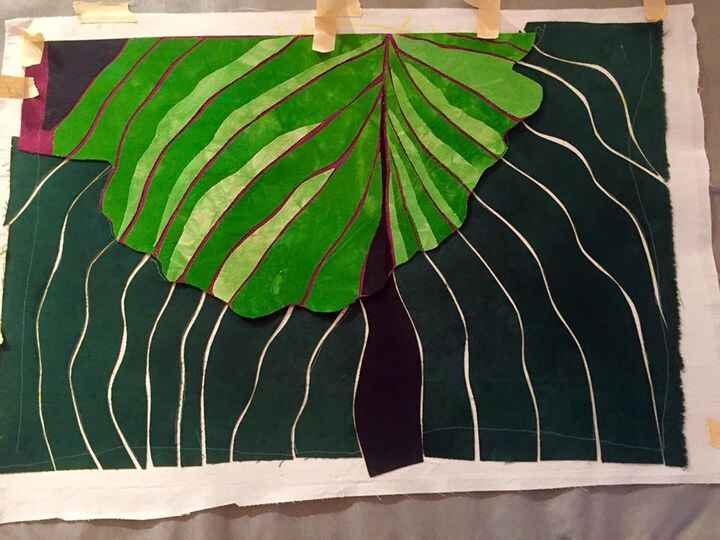 Making slow progress on my hostas piece. I got arty with the wavy lines on one leaf. Am working with shadows and highlig...