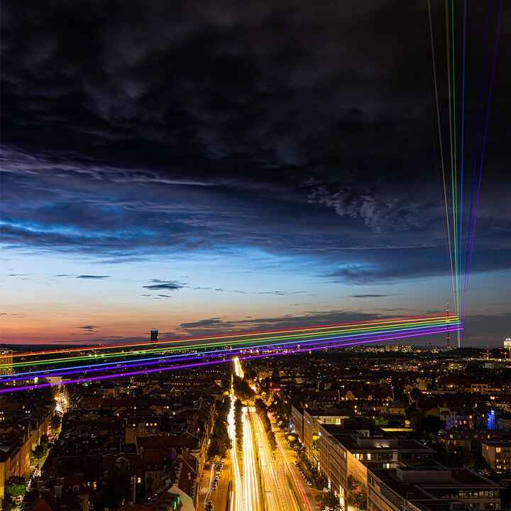 AO Creative is proud to be part of the colourful laser installation #unitedinpride realized for Mercedes-Benz München, B...