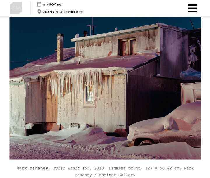 Polar Night solo show by Mark Mahaney at Paris Photo 2021, exited to announce our participation as gallery, for more inf...