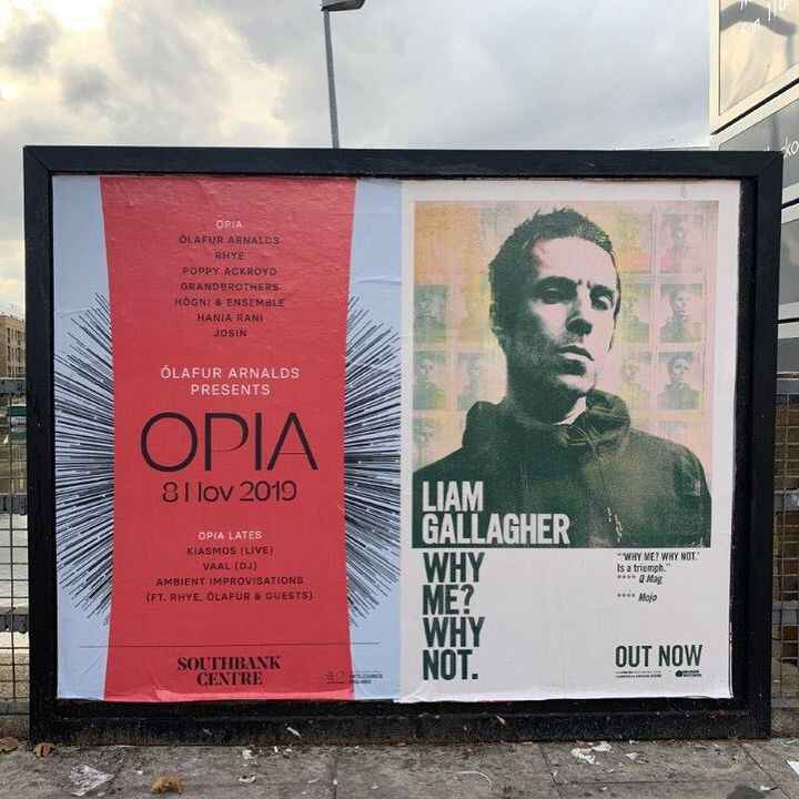 OPIA posters now in in the streets of London.⠀⠀#opiafestival⠀#SouthbankCentre⠀#olafurarnalds⠀#festivaldesign⠀#desi...