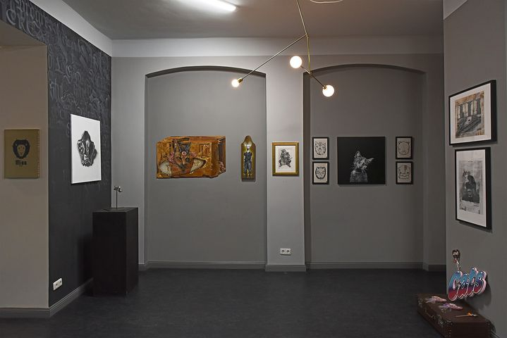 Impression from the past exhibition Lovecat 2, a group exhibition of more than 60 artists with a broad spectrum of artwo...